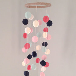Mobiles - Vintage colors were the inspiration for this dimensional dot mobile. Cream, dark coral, navy, light pink and mint combine effortlessly to create a gorgeous palette that is sure to compliment any space. This mobile is not just for baby! It will look chic and cool in practically any room in your home.