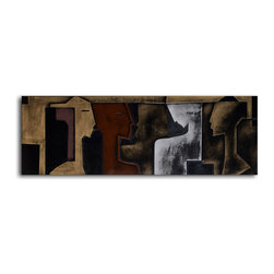 """My Art Outlet - Handmade """"Charcoal Silhouettes"""" Leather Wall Art - 20"""" x 60"""" - •Made of leather over 2"""" inch thick frame"""