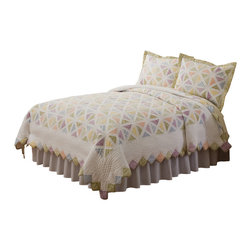 Pem America - Summer Porch King Quilt - Summer Porch is white framed quilt with bright pastel prints. Carefully hand pieced in a detailed lattice work design Summer Porch is a quality addition to your traditional floral bedroom.  This best selling quilt also features diamond edging and an intricately stitched frame. Each piece is painstakingly pieced together in 100% cotton face cloth and filled with cotton batting for a natural feel. Face cloth is pieced, 100% cotton and measures 100x90 inches. Filled with 94% cotton / 6% other fibers for a quality heavy weight construction.  100% microfiber polyester reverse. Machine washable.