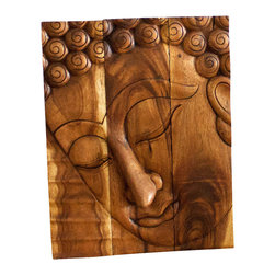 Kammika - Buddha Panel Pacceka Sust Wood 20 x 30 inch High w Eco Friendly Livos Walnut Oil - This beautiful Buddha Panel Pacceka 20 inch length x 30 inch height x approximately 4 inch thickness, including the approximately 2 inch protruding nose, Sustainable Monkey Pod Wood in Eco Friendly, Natural Livos Walnut Oil Finish Wall Panel presents Pacceka - the realization of the Dhamma is like a dream seen by a deaf mute. Referring to one who has attained to supreme and perfect insight, but who does so without proclaiming it to the world - hence the equivalent Silent Buddha often found in translations. This Pacceka Buddha wall panel has been carved from joined panels. The panel has two embedded flush mount Keyhole hangers on the topmost securing crossbar on the back for a protruding screw from your wall. All are hand carved by craftspeople in Thailand, who spend countless hours meticulously shaping, and finishing these wonders of wood made of Monkey Pod wood grown specifically for the woodcarving industry. Livos Walnut tone oil creates a highly water resistant and food safe finish, these natural oils are translucent, so the wood grain detail is highlighted; these are then polished to a matte finish. Color ranges from medium to dark Walnut tones that will darken as the wood ages. Each piece is crafted from sustainable wood; we make minimal use of electric hand sanders in the finishing process. All products are dried in solar or propane kilns. No chemicals are used in the process, ever. After each piece is carved, kiln dried, sanded, and rubbed with Livos oil, they are packaged with cartons from recycled cardboard with no plastic or other fillers. The color and grain of your piece of Nature will be unique, and may include small checks or cracks that occur when the wood is dried. Sizes are approximate. Products could have visible marks from tools used, patches from small repairs, knot holes, natural inclusions or holes. There may be various separations or cracks on your piece when it arrives. There may be some slight variation in size, color, texture, and finish.Only listed product included.