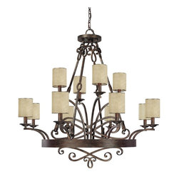 Capital Lighting - Capital Lighting Reserve Traditional 12-Light Chandelier X-015-TR2614 - The luxurious finishes and elegant design of this Capital Lighting chandelier ensure it will please and delight. From the Reserve Collection, it features twelve candelabra lights that have been complimented by modern cylindrical moonlit mica stay-straight shades. The warm tones of the Rustic finish add to the appeal. 50+lbs additional mounting supports recommended.