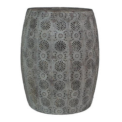 Home Decorators Collection - Corte Metal Stool - Our Corte Metal Stool features a pierced design with a floral motif and an antique grey finish. This stool's intricate details makes it the perfect decorative accent for your indoor spaces. Try it in the living room. Moroccan-inspired design. Not for outdoor use.