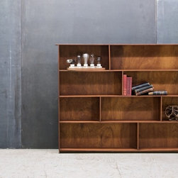 Craftsman Walnut Display Book Case - Unknown, c.1960s. Vintage Craftsman-made Solid Walnut Bookcase Display, Narrow Design, with Alternating Divides. All Pieces Beautiful Solid Old Growth Walnut Hardwood.