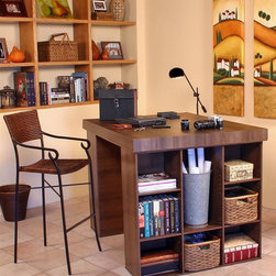 Venture Horizon - Project Center Table with Bookcase - Take on any task. This project center table shows a smart, efficient style while keeping you completely organized. Each side features a 9-shelf, totally adjustable bookcase - ideal for photos and collectibles, too. Spacious top surface allows for extensive work. Includes tabletop and two 9 bookcases. Bookcases have 9 shelves each. Shelves are adjustable. Organizes all projects. Versatile work center. Accessible storage. Huge work surface. Constructed from durable, stain resistant and laminated wood composites that includes MDF. Made in the USA. Assembly required. Overall: 55 in. W x 40.75 in D x 38.5 in H. Table top: 55 in W x 41 in. D x 2.5 in H. Bookcase (9 sections): 39 in. W x 11.5 in. D x 36 in. HOur Work Station's ingenious design makes it perfect for studying, sewing, crafting or scrap booking.  If you have a hobby like model airplane building or collecting coins then our spacious PROJECTCENTER is ideal.  From concept thru design and production, organize your creations...then relax. Our PROJECTCENTER will do the rest. It combines numerous convenient ways to organize and store all the materials for any project.  Whether it's keeping your work in process close at hand on the spacious 55 in. x 41 in. table top. Or arranging the contents of your materials in tidy oversized adjustable bookcase shelves. Longer or larger objects like wrapping paper, bolts of fabric or even architectural plans store conveniently in any of the large storage bins. They are open at both ends. Need more? Then add 3 or more deep drawers to the mix. Use them to hide the clutter of yarn, buttons, thread or what ever you need concealed. Without doubt this is the most intelligent PROJECTCENTER we have ever developed.Best of all the PROJECTCENTER is counter top height. That's right. It is 38.5 in. high so you won't have to break your back gift wrapping, quilting, drawing or doing leather work. What ever the project, this center is for you.