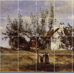 Picture-Tiles, LLC - An Orchard At Harvest Time Tile Mural By Jean Corot - * MURAL SIZE: 32x48 inch tile mural using (24) 8x8 ceramic tiles-satin finish.
