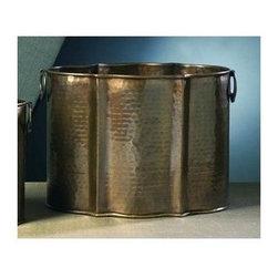 "Dessau Home - 11 in. Planter in Antique Brass - Set of 2 - Set of 2. Made from brass. Made in India. 15 in. L x 10 in. W x 11 in. HValue has always been an essential ingredient at Dessau Home. ""Essentials"" represents a collection of well-appointed yet affordable home furnishings with a unique traditional styling that appeals to most transitional and contemporary home decorating needs."