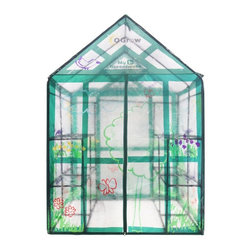 Ogrow - My First Greenhouse Ogrow Walk-In 3 Tier 12 Shelf Kids Greenhouse - OG6868-KD - Shop for Greenhouses from Hayneedle.com! Your kids will love growing and eating the fruits and vegetables they tended to in the My First Greenhouse Ogrow Walk-In 3 Tier 12 Shelf Kids Greenhouse. Made with strong and durable materials that are made to last this greenhouse is constructed with a heavy duty powder-coated steel shelving that will not rust a velcro hook and loop connection and a clear cover which allows for easy parental supervision. The double child zipper opens from the inside and outside for easy access while the zippered top not only allows for added ventilation but also provides moisture control. 12 shelves and special J shaped hooks allows for plenty of storage of space as well as working space. Fun and practical this greenhouse its a great choice for any child. Additional Features Entrance measures 30W x 64H in. 16-inches between the shelves Opens from the inside and outside Zippered top for added ventilation Zippered top also provides moisture control Clear design for easy parental supervision Cover allows the sun in and keeps bugs out Dark green frame Features 3 tiers and 12 shelves Specially designed J hooks hold planting tools Quality materials for long-lasting durability No hardware needed for assembly Specification: Note - Ties to attach the shelves to the frame and anchors to attach the greenhouse to the ground are not included in this purchase.