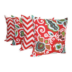 Land of Pillows - Zig Zag Rojo Red and Faxon Rojo Floral Outdoor Throw Pillows - Set of 4, 16x16 - Fabric Designer - Orien