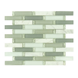 "Euro Glass - Waterscape 1"" x 4"" Grey Kitchen Glossy Glass and Stone - Sheet size:  11 3/4"" x 13 1/4""   Tile Size:  7/8"" x 3 7/8""   Tiles per sheet:  72    Tile thickness:  1/4""   Grout Joints:  1/8""   Sheet Mount:  Mesh Backed     Sold by the sheet    -"