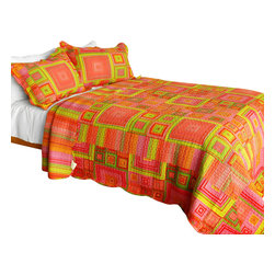 Blancho Bedding - [Song of Sunset] 3PC Vermicelli-Quilted Printed Plaid Quilt Set (Full/Queen) - Set includes a quilt and two quilted shams (one in twin set). Shell and fill are 100% cotton. For convenience, all bedding components are machine washable on cold in the gentle cycle and can be dried on low heat and will last you years. Intricate vermicelli quilting provides a rich surface texture. This vermicelli-quilted quilt set will refresh your bedroom decor instantly, create a cozy and inviting atmosphere and is sure to transform the look of your bedroom or guest room. Dimensions: Full/Queen quilt: 90 inches x 98 inches  Standard sham: 20 inches x 26 inches.