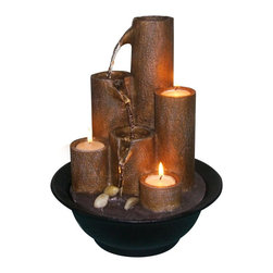 Alpine - Tabletop Fountain with Three Candles - You can definetly brighten up a room with this table top fountain. Crafted so the water flows from one tier to the next. Then accented with candles.Features: