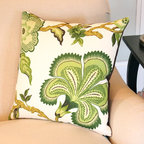 Green Schumacher Designer Pillow Cover in Hothouse Flower Fabric - The exotically-styled, large flowers are gorgeous on this fabric! Celerie Kemble's Hothouse Flowers fabric looks great on a pillow!