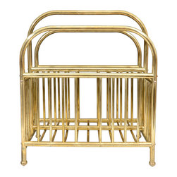 Mid Century brass Magazine Stand - The clean brass lines on this magazine rack make it such a wow piece!