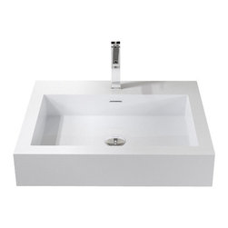 Badeloft - Badeloft - Stone Resin - Wall-mounted Sink, Glossy, Medium - Indulge in state of the art luxury when you introduce this rectangular sink made from high quality stone resin to your modern bathroom. The WT-06-M wall mounted bathroom sink is a divine addition that makes a perfect innovative centerpiece. The timeless design of this elegant sink boasts hard edges and modern lines for an aesthetically pleasing balance. Unique and modern, the distinctive design of this wall mounted sink offers a large dose of relevant functionality to infuse your bathroom with a lifetime of beauty. This trendy sink is a serene and contemporary fixture with attractive symmetry that lends its classic look to traditional and modern homes.