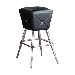 """AD9276 - Slanted Cube Black Vinyl Tufted Bar Stool with Chrome Legs - Slanted cube black vinyl tufted bar stool with chrome legs. Measures 17"""" x 17"""" x 30 1/4"""" H. Some assembly required."""