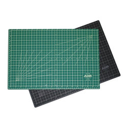 "Adir Corp - Adir Self Healing Cutting Mat Reversible Green/Black 18""x24"" - The Adir Cutting Mats are the most flexible cutting mats on the market today because they're made of a new, 3-ply high-tech polymer material. Constructed with a self-healing surface, Adir Cutting Mats are extremely durable and hold up under repeated use with art and mat knives or rotary cutters. Our self-healing cutting mats are 3 mm thick and made of 3 plies. The outer plies are .75 mm thick and give the mat self-healing properties. The inner core is 1.5 mm thick and prevents mat cut-through and extends blade life.Our pro-quality, self-healing mats have a medium tooth texture, non-glare surface, and are graduated on all four sides. Hash lines extend outside of the border. Mats are hashed to every 1/8-inch and graduated to every 1/2"" with every inch marked with a heavier line. Grid pattern includes guide lines for 15,30,45,60,75 angles on one side and 10,20,30,40,50,60,70,80 on the other side and 1/2"" grid lines. Our cutting mats also have lines for cutting diagonals. Our mats come also graduated in Centimeters and Milimeters.With the Adir Cutting Mats come the bonus feature of a different color on each side of the mat - one side is black, the other, green. Not only is this like getting two mats in one, but these two colors are non-glare and easy on the eyes. When these mats are not being used for cutting, they make a perfect surface for drawing or writing, thanks to the resilient texture of the 3-ply construction. Adir Cutting Mats are the ideal choice for artists, designers, photographers, illustrators, calligraphers, scrapbookers and hobbyists;Features:Self-healing: Closes immediately after cutting, For use with rotary and utility blades, Will not dull blades;3-Ply design with self-healing surface and hard core, Usable on both sides;Extremely durable, 3mm thickness;Non-slip for added safety on work tables, Non-glare cutting surface;Calibrated grid lines for easy cutting references, Perfect surface for writing and drawing;Material Used: Polymer;Dimension:Height: 0.3"";Width: 24"";Depth: 18"""