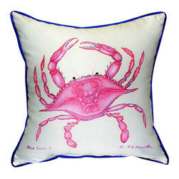 Betsy Drake - Betsy Drake Pink Crab Pillow- Indoor/Outdoor - Pink Crab Pillow- Large indoor/outdoor pillow. These versatile pillows are equal at enhancing your homes seaside decor and adding coastal charm to an outdoor setting arrangment. They feature printed outdoor, fade resistant fabric for years of wear and enjoyment. Solid back, polyfill. Proudly made in the USA.