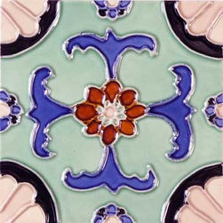 """Glass Tile Oasis - Fuente 6"""" x 6"""" Green 6"""" x 6"""" Deco Tiles Glossy Ceramic - All ceramic tiles are hand painted. Glazed thickness will vary from tile to tile, resulting in color variation. Hand-Painted Ceramic tiles will craze and crackle over time, which is intentional and a desired effect."""