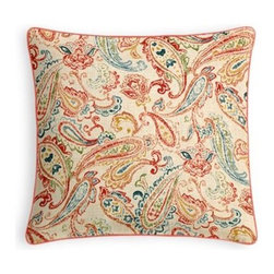 Red Multicolor Paisley Custom Throw Pillow - Every decorator knows: it's the details that make a room.  That's why we love the Microcord Throw Pillow with a thin piped edge that adds just a hint of color. We love it in this classic multicolor paisley linen that plays nice with decor from traditional to eclectic.