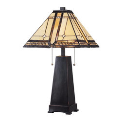 Kenroy - Kenroy KR-32284ORB Amblewood Table Lamp - Topped by its pyramid shaped Deco colored art glass shade, Amblewood is perfect for dens, bedrooms, and offices, functioning just as much fashion accessory as lamp. Classically detailed patterns in Amber tones adorn this monolith base that is footed, weighty, and finished in a highlighted Oil Rubbed Bronze. Uses 2-60 Watt (M) Bulbs each, with pull chain switches.