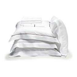 Libeco - Classics Bridgewater Collection - Pillow Case, White-Cafenoir, King - Ultra - elegant, Libeco's Bridgewater collection is composed of classic white sheets, pillow cases and shams trimmed in your choice of either Light Grey or Cafenoir.