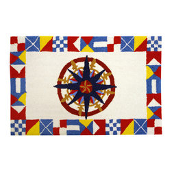 Homefires - Nautical Compass Rug - Maritime enthusiasts will love this colorful nautical compass rug for their captains quarters. The navigation instrument creates an appealing geometric shape on the wool look-alike accent rug. Machine washable and ideal for a den, office or even boating themed bathrooms.
