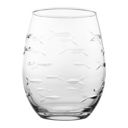 Rolf Glass - School of Fish Tumbler, Clear, 15 Oz. - Every now and again we all swim against the current. With this artfully depicted school of fish design, beautifully etched and polished fish swim together, save for one little guy headed in the opposite direction. A delightful nod to individuality and the unique spirit inside all of us.  Made in USA.