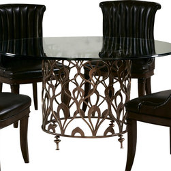 American Drew - American Drew Bob Mackie 60 Inch Round Glass Top Dining Table with Metal Base - Soft gentle shapes, unique patterns, a mixture of materials and elegant details all describe the unique elements that are synonymous with a Bob Mackie gown; and these motifs are evident in the Bob Mackie Home? Signature Collection by American Drew. The Signature collection is a fresh twist on classic designs. The inspiration and story is the creative use of materials and veneer work. The finish is a beautiful Rosewood color with veneer details in Primavera, Ebony, Walnut Burl, Mahogany and Cherry. Black Granite, Antiqued Mirror and Golden color accents add depth, drama and sparkle to this collection. Ribbon, lace, feather and starburst motifs add the 'dare to be noticed' flair to this group. Custom designed jewelry-like hardware, pierced brass collars and brass feet on selected items add a fine, finished look to each piece.