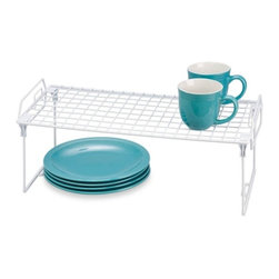 Set Of 2 - Kitchen Organizer Rack- 22X10In - Honey-Can-Do KCHZ01850 Set of 2 Lock and Link Stackable Cabinet Shelf, White.  The slim, space-saving design is great for creating extra storage space in cabinets, pantries, or closets.  Made with a durable steel frame and PE coating, it's sturdy, easy to clean, and will last for years.