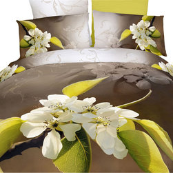 Dolce Mela - Modern Bedding Floral Duvet Cover Set Dolce Mela DM404, King - Decorate with the delicate beauty of blossoms and artistic floral watermarks on a golden-brown background and create a dreamy nest in your private oasis.
