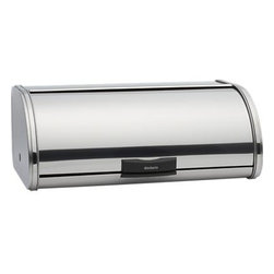Large Bread-Storage Bin - A sleek new take on the classic breadbox, streamlined in chromed steel with easy-open rolling lids, textured bases for added ventilation, and flat top for storing other items. Small holds two full loaves of bread; large holds three.