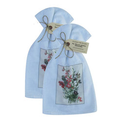 Golden Hill Studio - Larkspur Flour Sack Towel Set of 2 - This lovely Flour Sack Towel set is adorned with an 1800 botanical print.  Printed and Assembled in the USA!