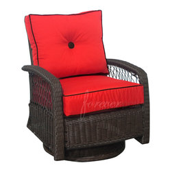 Forever Patio - Santa Monica Rattan Outdoor Patio Swivel Glider, Ruby Cushions - Sit back and enjoy the soothing motion of the Forever Patio Santa Monica Outdoor Wicker Swivel Glider (SKU FP-SM-SG-CP). Made with High-Density Polyethylene (HDPE), each strand of wicker is infused with a beautiful Cappuccino finish and laced with UV-inhibitors, which gives it protection from UV damage. Outdoor-grade cushions top the seat with a brilliant splash of color and accented with a Brown button and piping for enhanced style. This outdoor swivel glider is supported by thick-gauged, powder-coated aluminum frames that make it more durable than natural rattan. This chair includes fade- and mildew-resistant Sunbrella® cushions, adding comfort to your outdoor space.