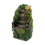 n/a - Stone and Flower Battery Operated Tabletop Water Fountain - This water fountain adds a soothing element to your desk, or to any table or shelf in your home or office. Made of cold cast resin, it measures 7 1/2 inches tall, 5 inches long, and 3 3/4 inches wide. The fountain runs on 2 AA batteries (not included), and has an on/off switch on the side. It makes a great gift for a friend and is sure to be admired.