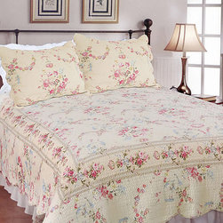 None - Rose Romance 3-Piece Quilt Set - Add a feminine touch to your bedroom with this delicate floral quilt set. Both the cover and fill are made from pure cotton, so they're machine washable as well as comfortable. For your convenience, this set comes complete with quilt and two shams.