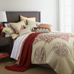 Blissliving Home - Blissliving Home Queen Duvet Cover Set - Chanda bed linens combine modern hues like Gulf blue, merlot, coral, and golden-amber with traditional motifs for a thoroughly luxe look. Duvet covers are reversible. Vanilla side features an oversized medallion encircled by medallion accents and touc...