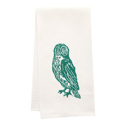 "artgoodies - Hand-Printed Organic Owl Tea Towel - This high quality 100% certified organic cotton tea towel was custom made just for artgoodies! Hand printed with one of my original linocut block print images it measures 20""x28"" and comes wrapped in a green ribbon made from 100% recycled plastic bottles! Nice and absorbent for drying dishes, looks great when company is over, and makes a great housewarming gift!"