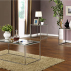 None - 3-piece High Gloss Chrome Finish Cocktail End Tables Set - Update your d_cor with the modern and stylish design of this 3-piece cocktail and end tables set. Highly polished chrome-finished metal legs and tempered glass countertops combine to produce a uniquely modern appeal.