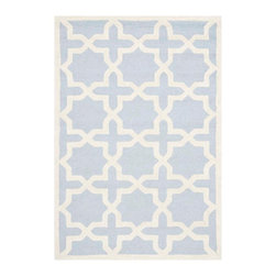 Safavieh - Callum Hand Tufted Rug, Light Blue / Ivory 2' X 3' - Construction Method: Hand Tufted. Country of Origin: India. Care Instructions: Vacuum Regularly To Prevent Dust And Crumbs From Settling Into The Roots Of The Fibers. Avoid Direct And Continuous Exposure To Sunlight. Use Rug Protectors Under The Legs Of Heavy Furniture To Avoid Flattening Piles. Do Not Pull Loose Ends; Clip Them With Scissors To Remove. Turn Carpet Occasionally To Equalize Wear. Remove Spills Immediately. Ancient symbols combine to create a chic interpretation of transitional Moroccan style in the beautifully textured Sahara area rug. Hand-tufted of superior wool pile and crafted to endure, this simple but striking rug contrasts plush and pile textures for rich dimension.