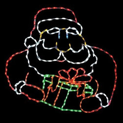 48 in. LED Santa with Gift Box Lighted Display - 286 Bulbs - With your 48 in. LED Santa with Gift Box Lighted Display - 286 Bulbs in the yard you can wish everyone a Merry Christmas. This lighted display features a cheerful Santa Claus with festive gift box in his hands. Your Santa stands 48 inches tall and is shaped by a strong powder-coated steel frame. He comes pre-lit with 286 commercial-quality, multi-colored LED bulbs. This Santa-shaped Christmas yard display is a breeze to install and comes complete with replacement bulbs and clips. About Brite IdeasEstablished in Omaha, Neb., in 1990, Brite Ideas Decorating, Inc., has become a holiday lighting industry leader, providing customers across the United States with durable, cutting edge lighting displays for both residential and commercial applications.Featuring a full line of innovative LED products and uniquely designed displays, Brite Ideas appeals to tradition, modern, simple, and even ornate tastes. It is their mission to promote excellence in the holiday lighting industry. With that in mind, Brite Ideas products go above and beyond the standard to create the best holiday atmosphere for you.