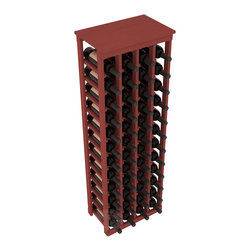 "48 Bottle Kitchen Wine Rack in Pine with Cherry Stain - Store 4 complete cases of wine in less than 20"" of wall space. Just over 4 feet tall, this narrow wine rack fits perfectly in hallways, closets and other ""catch-all"" spaces in your home or den. The solid wood top serves as a shelf or table top for added convenience and storage of nick-nacks."