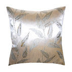 Square Feathers - Metallic Silver Leaves Pillow - This gorgeous silver throw pillow will give your room some extra shimmer. Metallics act as neutrals, harmonizing beautifully with other neutrals and complementing most colors. This pillow's leaf pattern would look lovely next to natural colors, but is subtle enough to work with any number of contemporary or exotic styles.