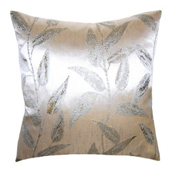 Metallic Silver Leaves Pillow