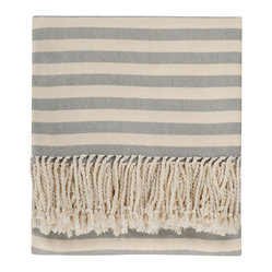 Nine Space - Striped Bamboo Viscose Throw, Steel Blue - Classic stripes are always in fashion, making this throw a good choice — one with staying power — to liven up your couch, chaise or bed. Made from ecofriendly bamboo, it's lightweight and luxuriously soft, providing just the right amount of warmth for year-round use.