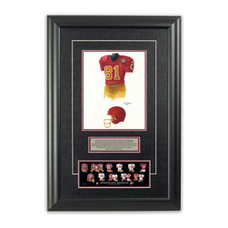 "Heritage Sports Art - Original art of the NFL 1994 Washington Redskins uniform - This beautifully framed piece features an original piece of watercolor artwork glass-framed in an attractive two inch wide black resin frame with a double mat. The outer dimensions of the framed piece are approximately 17"" wide x 24.5"" high, although the exact size will vary according to the size of the original piece of art. At the core of the framed piece is the actual piece of original artwork as painted by the artist on textured 100% rag, water-marked watercolor paper. In many cases the original artwork has handwritten notes in pencil from the artist. Simply put, this is beautiful, one-of-a-kind artwork. The outer mat is a rich textured black acid-free mat with a decorative inset white v-groove, while the inner mat is a complimentary colored acid-free mat reflecting one of the team's primary colors. The image of this framed piece shows the mat color that we use (Maroon). Beneath the artwork is a silver plate with black text describing the original artwork. The text for this piece will read: This original, one-of-a-kind watercolor painting of the 1994 Washington Redskins uniform is the original artwork that was used in the creation of this Washington Redskins uniform evolution print and tens of thousands of other Washington Redskins products that have been sold across North America. This original piece of art was painted by artist Tino Paolini for Maple Leaf Productions Ltd. Beneath the silver plate is a 3"" x 9"" reproduction of a well known, best-selling print that celebrates the history of the team. The print beautifully illustrates the chronological evolution of the team's uniform and shows you how the original art was used in the creation of this print. If you look closely, you will see that the print features the actual artwork being offered for sale. The piece is framed with an extremely high quality framing glass. We have used this glass style for many years with excellent results. We package every piece very carefully in a double layer of bubble wrap and a rigid double-wall cardboard package to avoid breakage at any point during the shipping process, but if damage does occur, we will gladly repair, replace or refund. Please note that all of our products come with a 90 day 100% satisfaction guarantee. Each framed piece also comes with a two page letter signed by Scott Sillcox describing the history behind the art. If there was an extra-special story about your piece of art, that story will be included in the letter. When you receive your framed piece, you should find the letter lightly attached to the front of the framed piece. If you have any questions, at any time, about the actual artwork or about any of the artist's handwritten notes on the artwork, I would love to tell you about them. After placing your order, please click the ""Contact Seller"" button to message me and I will tell you everything I can about your original piece of art. The artists and I spent well over ten years of our lives creating these pieces of original artwork, and in many cases there are stories I can tell you about your actual piece of artwork that might add an extra element of interest in your one-of-a-kind purchase."