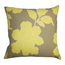 """The Pillow Collection - Verda Floral Outdoor Pillow Yellow Brown 20"""" x 20"""" - Update your decor style in time for summer with a fresh look. This accent pillow features an oversized floral pattern in shades of yellow against a brown background. This square pillow will instantly brighten up your outdoor space with the striking contrast between the two hues. Lend a contemporary twist to your patio, cabana or garden with this 20"""" pillow. Made of weather-resistant materials. Hidden zipper closure for easy cover removal.  Knife edge finish on all four sides.  Reversible pillow with the same fabric on the back side.  Spot cleaning suggested."""