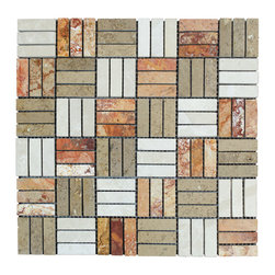 STONE TILE US - Stonetileus 10 pieces (10 Sq.ft) of Mosaic Botticino Noce Peach Blend -5/8x2 -Po - STONE TILE US - Mosaic Tile - Botticino - Noce - Peach Blend -5/8x2 -Polished Specifications: Coverage: 1 Sq.ft size:  - 1 Sq.ft/Sheet Sheet mount:Meshed back Stone tiles have natural variations therefore color may vary between tiles. This tile contains mixture of white - light brown - dark brown - copper - red - and color movement expectation of high variation, The beauty of this natural stone Mosaic comes with the convenience of high quality and easy installation advantage. This tile has Polished surface, and this makes them ideal for walls, kitchen, bathroom, outdoor, Sheets are curved on all four sides, allowing them to fit together to produce a seamless surface area. Recommended use: Indoor - Outdoor - High traffic - Low traffic - Recommended areas: Botticino - Noce - Peach Blend -5/8x2 -Polished tile ideal for walls, kitchen, bathroom, Free shipping.. Set of 10 pieces, Covers 10 sq.ft.