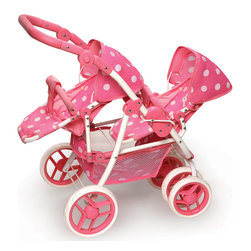 Badger Basket - Reversible Double Doll Stroller - Pink Polka Dots - With Badger Basket's Reversible Double Doll Stroller, you can face the seats either way, and switch them at any time, or have them face each other!; Sometimes you want to see your baby dolls while strolling along, and sometimes they want to watch the world go by!; Four front wheels (2x2) swivel to make turning and corners a breeze.; Two fixed (not swiveling) rear wheels.; All the wheels have a PP plastic hub and EVA rubber tread.; Pink with White Polka Dots fabric.; Large and useful storage basket beneath the stroller holds all of your dolls clothes, toys, diapers, blankies, and more.; Storage basket has mesh sides so you can easily find that favorite toy or pacifier buried at the bottom.; Height adjustable handle to accommodate many ages and sizes of children.; Comfortable to push thanks to the thick rubber padding on the handle.; Handle height can go from 16.5 inches in lowest position up to 28.5 inches (from floor to top of handle) in highest position with many positions in between.; Handle adjusts by depressing the two buttons on the side and swiveling it to your preferred position.; Stroller seats have soft, rubber padded, adjustable front bars, and adjustable canopies.; Keep your dolls in place using the two point seat belts.; Additionally, fabric crotch panels keep your doll from sliding out of the seat.; Is dolly fussy or it's time for a nap? Seat backs are adjustable!; Footrest panel is comfortable for your dolly's feet.; Seats removes from the stroller frame by pulling up and out until they release from the side tracks.; Stroller folds for storage and travel.; Stroller frame features safety locks to prevent accidental folding.; To fold the stroller, release the two side locks and fold the stroller down while holding the safety locks out of the way.; Stroller folds with or without the seats attached.; For dolls up to 16 inches.; Spot clean stroller frame and seat canopies as needed.; Fabric seats and the basket remove from the frame and can be hand washed gently and air dry.; Fabric is 85% polyester/15% Cotton.; Metal frame is coated steel.; Some assembly required. Illustrated instructions included.; No tools needed for assembly.; For three years old and up.; Doll and accessories shown in the photos not included.; Meets all current, applicable safety standards.; This item is a toy only and is never to be used with real infants or pets.; Actual product may vary slightly from shown.; All measurements approximate.; Product includes a warranty of 30 Days Parts to the original purchaser.; This item ships in its original carton which may include a photo of the product.; WARNING: CHOKING HAZARD - Small parts. Not for children under 3 yrs.; MEASUREMENTS: ; Length, width, and height vary depending on position of the seats, seat front bars, and stroller handle.; STROLLER WITH SEATS FACING FRONT: 15 inches W x 21 inches D x 28.5 inches H with handle up.; FOUR FRONT WHEELS: 6 inches in diameter; TWO REAR WHEELS: 6.5 inches in diameter; STORAGE BASKET: 8 inches W x 12 inches D x 4 inches H.; OVERALL SEAT: 9 inches W x 6 inches D x 16 inches H.; INTERIOR OF THE CARRIER SEAT: 6.5 inches W, seat back 10 inches H, seat bottom 3.25 inches D.