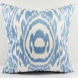 blue tribal ikat pillow -