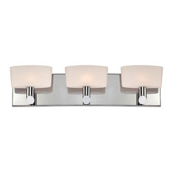 """Lamps Plus - Contemporary Alico Toby 21 1/4"""" Wide Chrome Bathroom Light - This gleaming three-lamp chrome bathroom wall light is a remarkable modern design that's sure to dazzle your decor. The rectangle chrome wallplate and truncated rod arms hold aloft three beautiful pillow shape white opal glass shades. Give your bathroom a soft attractive glow with this delightful design from Alico. Three-light bath fixture. Chrome finish metal. White opal glass. Includes three 60 watt G9 bulbs. 21 1/4"""" wide. 5"""" high. Extends 4"""". ADA compliant.  Three-light bath fixture.   Chrome finish metal.   White opal glass.   Includes three 60 watt G9 bulbs.   21 1/4"""" wide.   5"""" high.    Extends 4"""".   ADA compliant."""